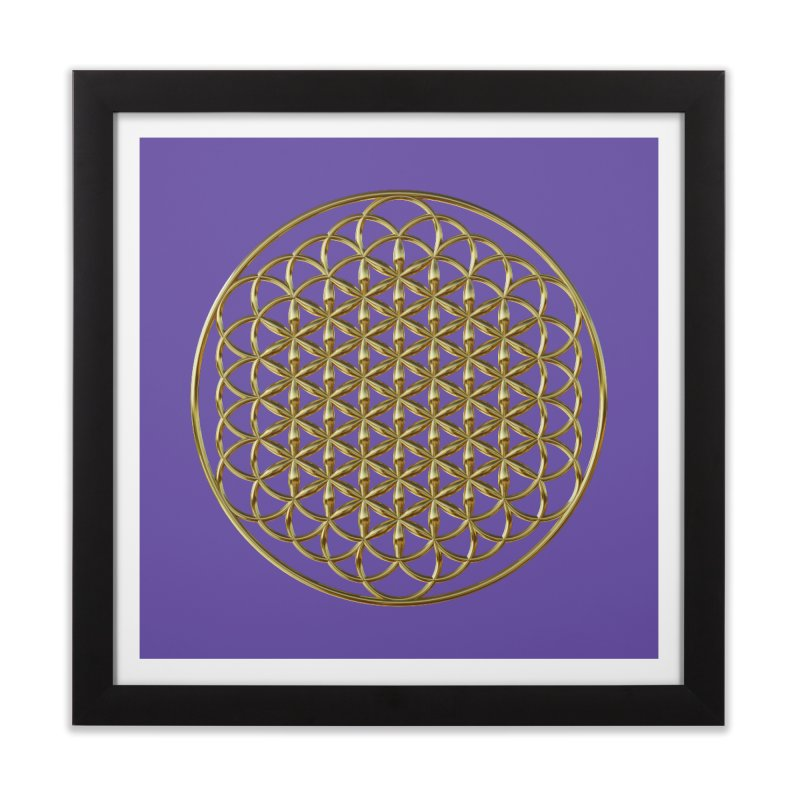 Extended Flower of Life Gold Home Framed Fine Art Print by diamondheart's Artist Shop