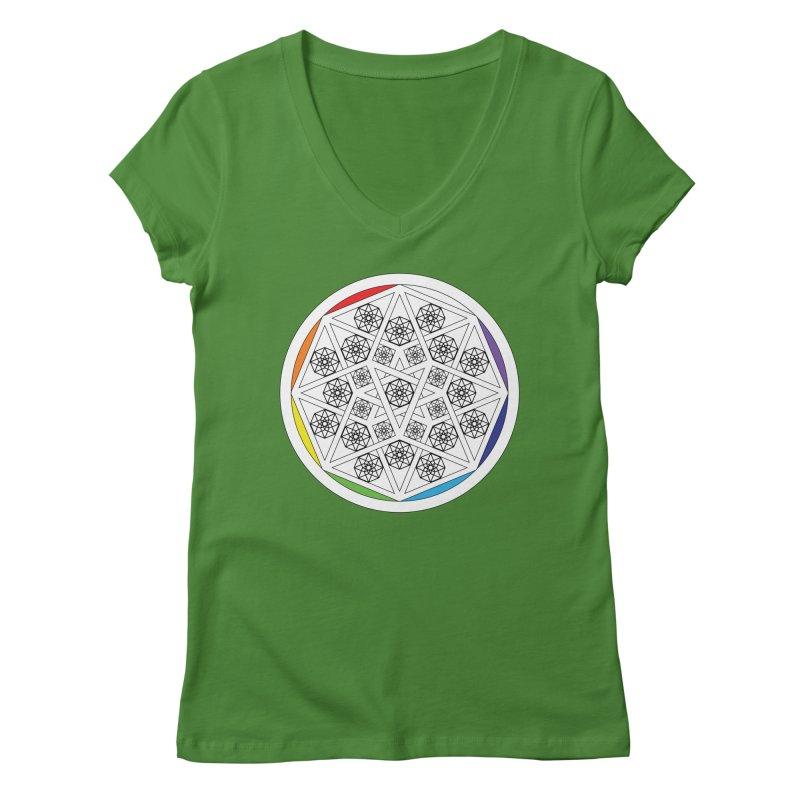 Tesseract Tesselation Women's V-Neck by diamondheart's Artist Shop