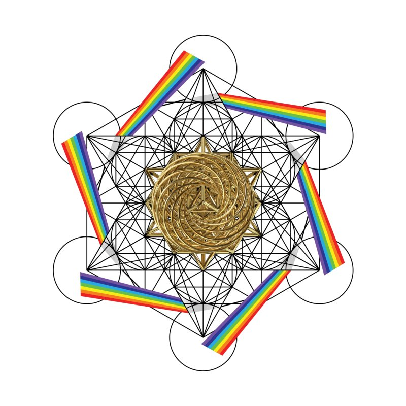 Metatron's Rainbow Healing Vortex (black lines) by diamondheart's Artist Shop