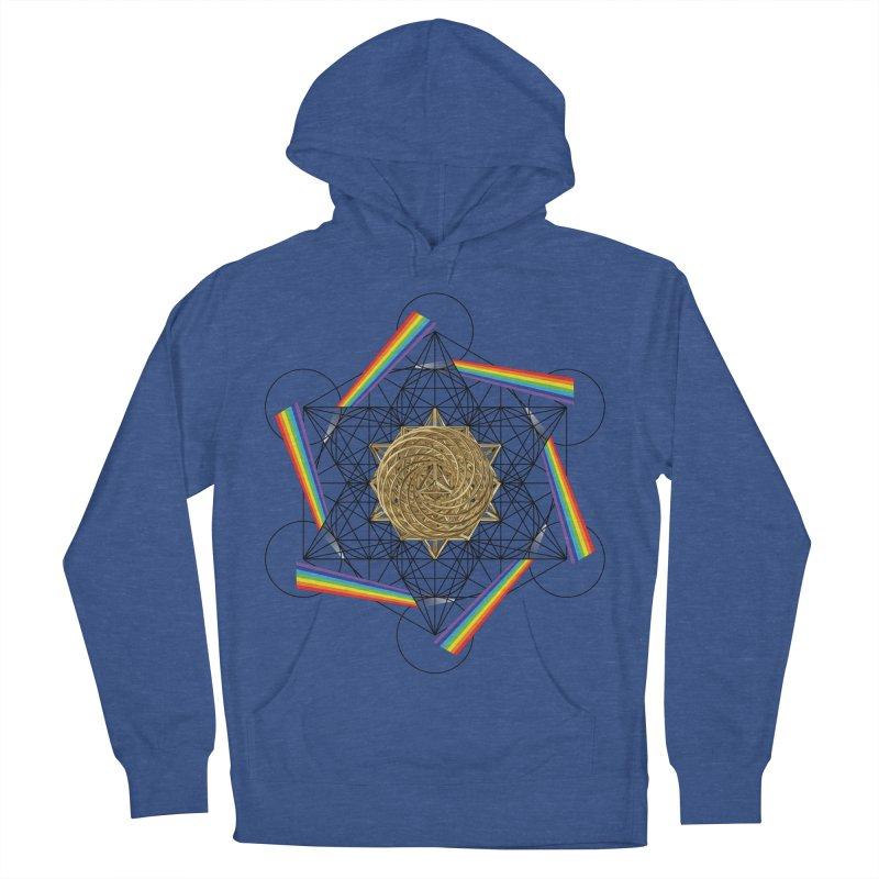 Metatron's Rainbow Healing Vortex (black lines) Men's French Terry Pullover Hoody by diamondheart's Artist Shop