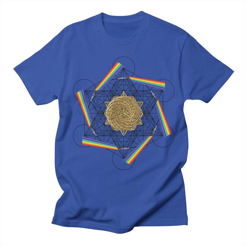 Metatron's Rainbow Healing Vortex (black lines) Men's Regular T-Shirt by diamondheart's Artist Shop