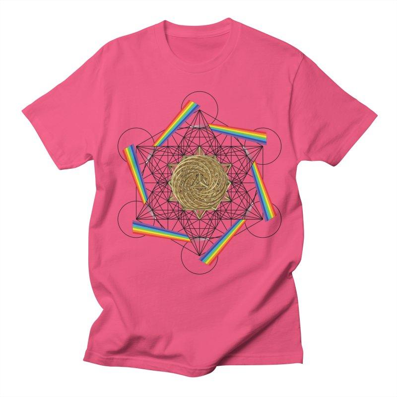 Metatron's Rainbow Healing Vortex (black lines) Women's Regular Unisex T-Shirt by diamondheart's Artist Shop