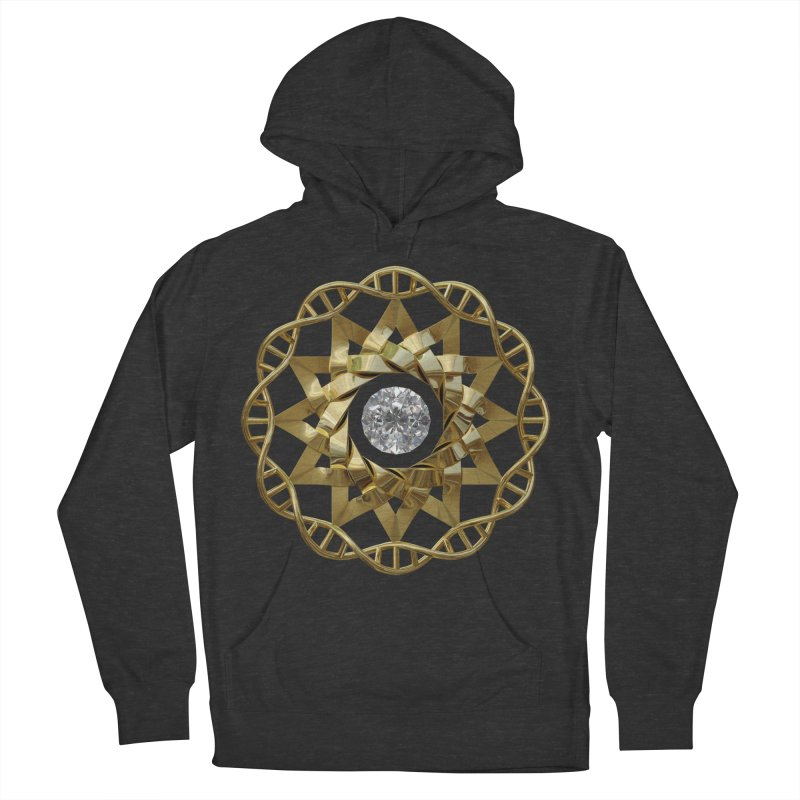 12 Strand DNA Gold Men's French Terry Pullover Hoody by diamondheart's Artist Shop