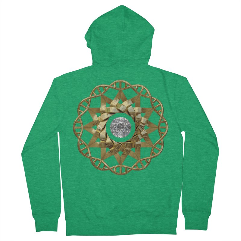 12 Strand DNA Gold Men's French Terry Zip-Up Hoody by diamondheart's Artist Shop