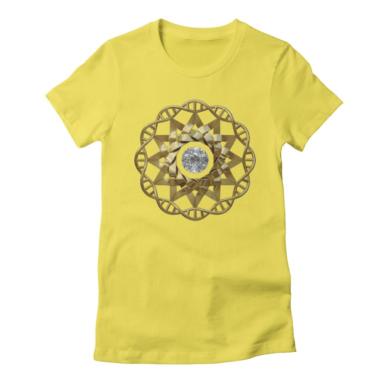 12 Strand DNA Gold Women's Fitted T-Shirt by diamondheart's Artist Shop