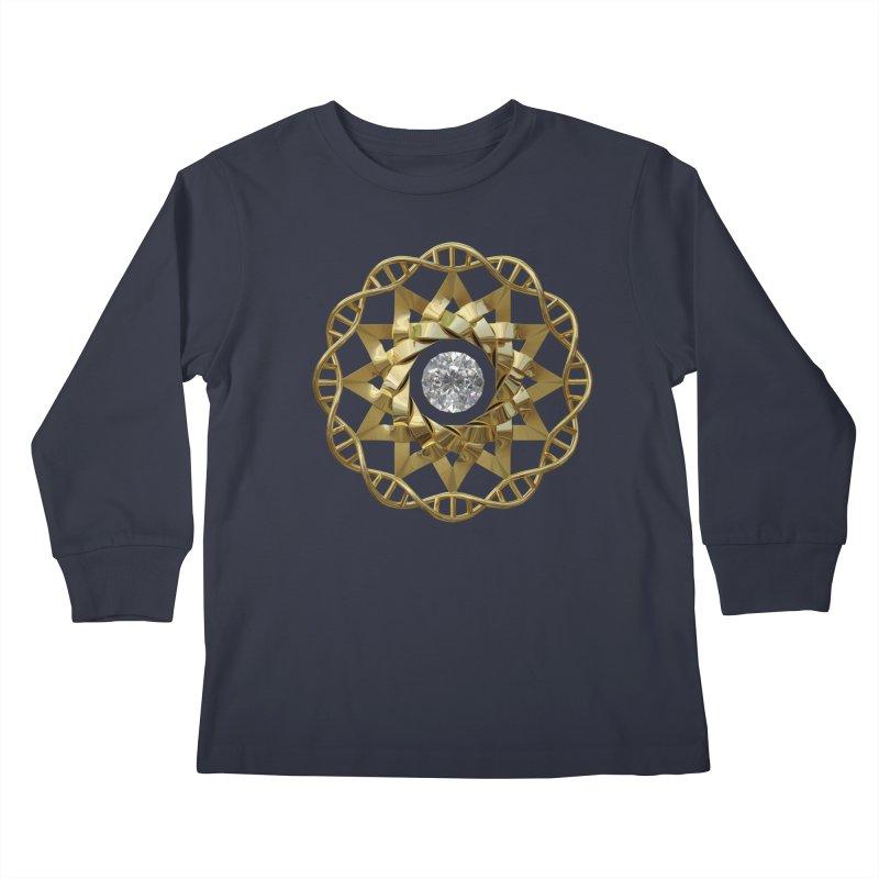 12 Strand DNA Gold Kids Longsleeve T-Shirt by diamondheart's Artist Shop