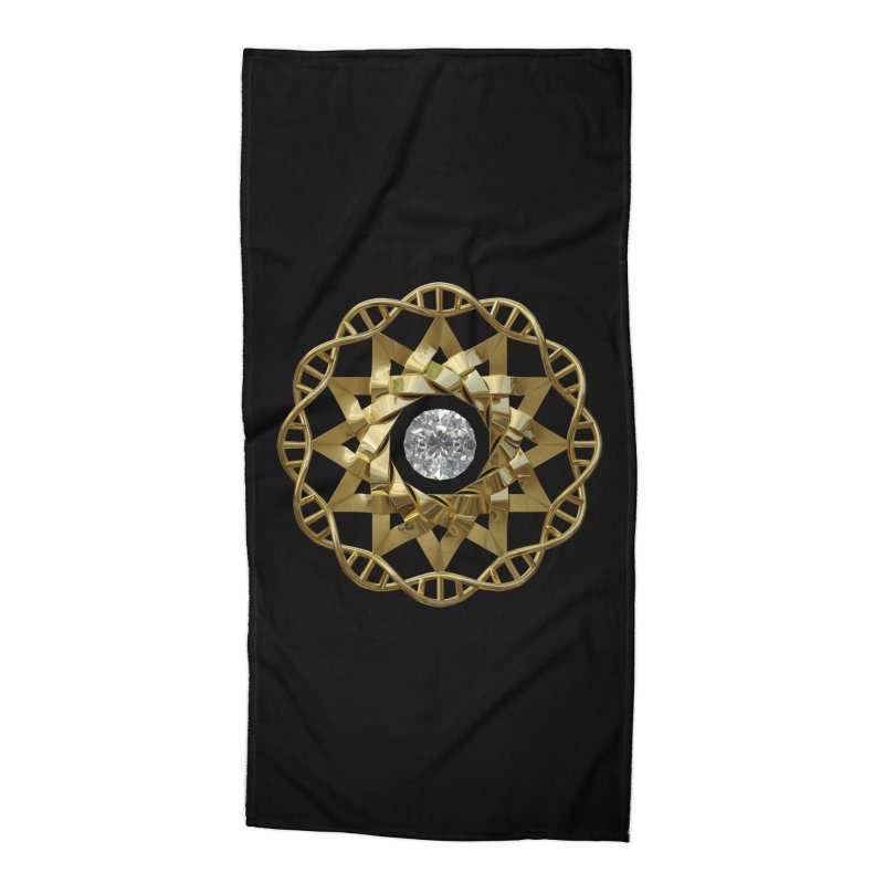 12 Strand DNA Gold Accessories Beach Towel by diamondheart's Artist Shop
