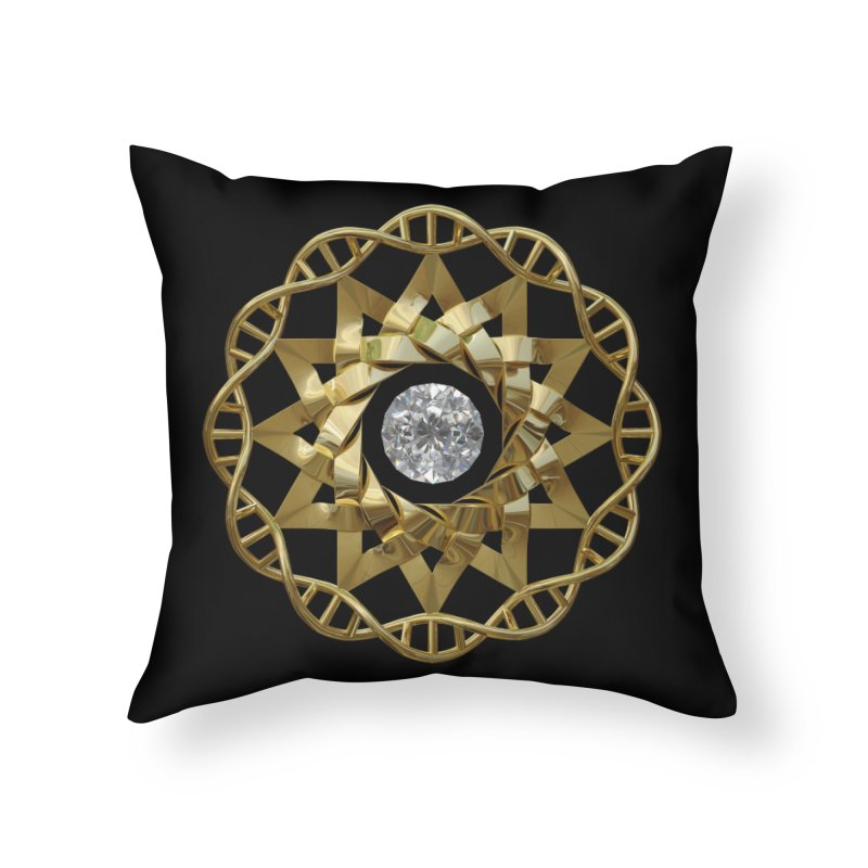 12 Strand DNA Gold Home Throw Pillow by diamondheart's Artist Shop
