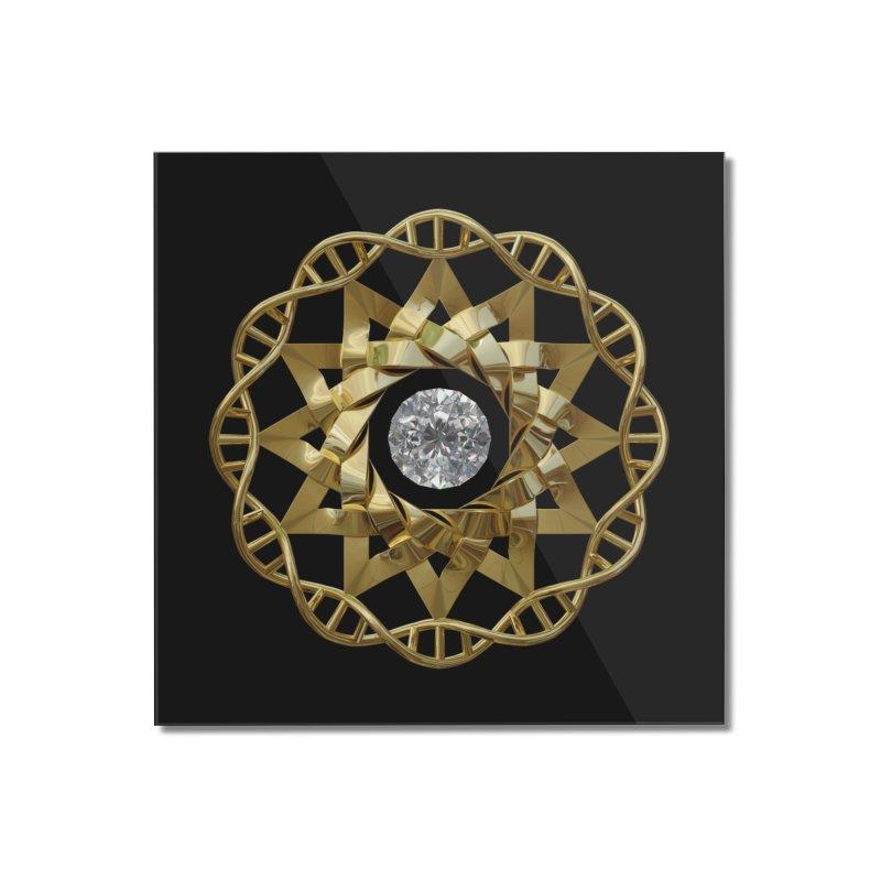 12 Strand DNA Gold Home Mounted Acrylic Print by diamondheart's Artist Shop