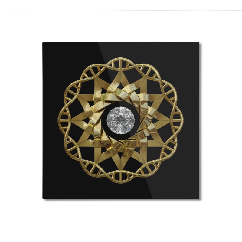 12 Strand DNA Gold Home Mounted Aluminum Print by diamondheart's Artist Shop