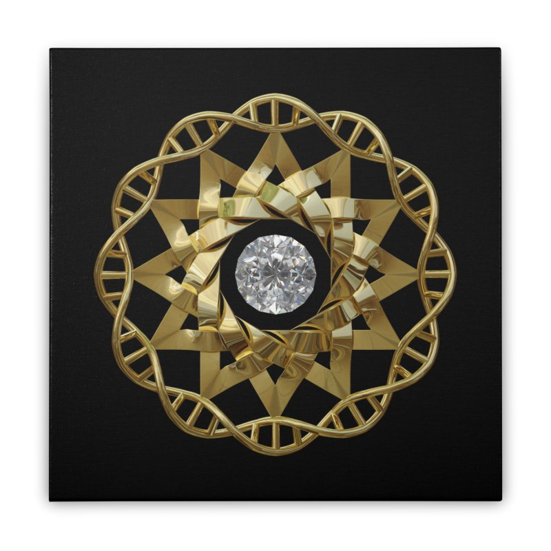12 Strand DNA Gold Home Stretched Canvas by diamondheart's Artist Shop