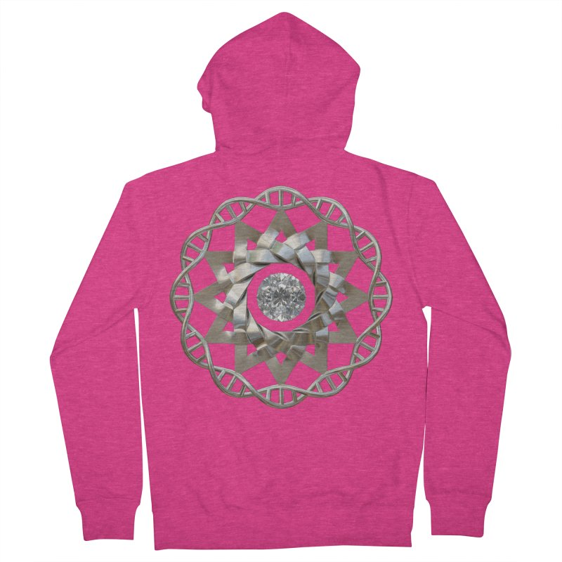12 Strand DNA Silver Women's French Terry Zip-Up Hoody by diamondheart's Artist Shop