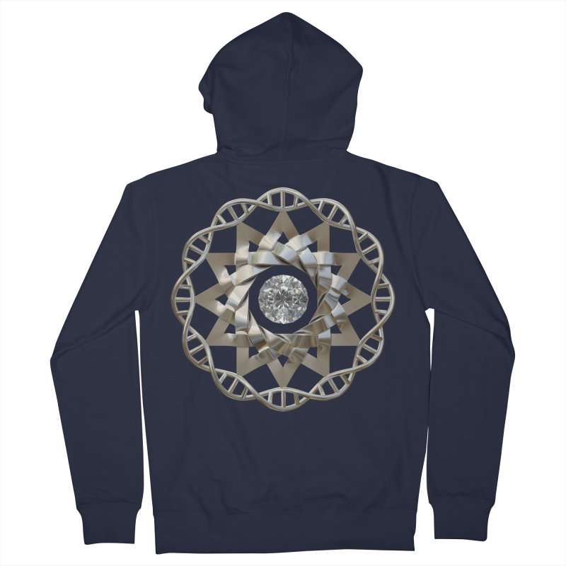 12 Strand DNA Silver Men's French Terry Zip-Up Hoody by diamondheart's Artist Shop