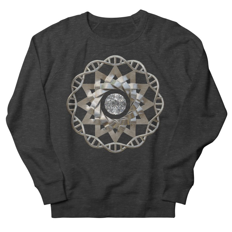 12 Strand DNA Silver Men's French Terry Sweatshirt by diamondheart's Artist Shop