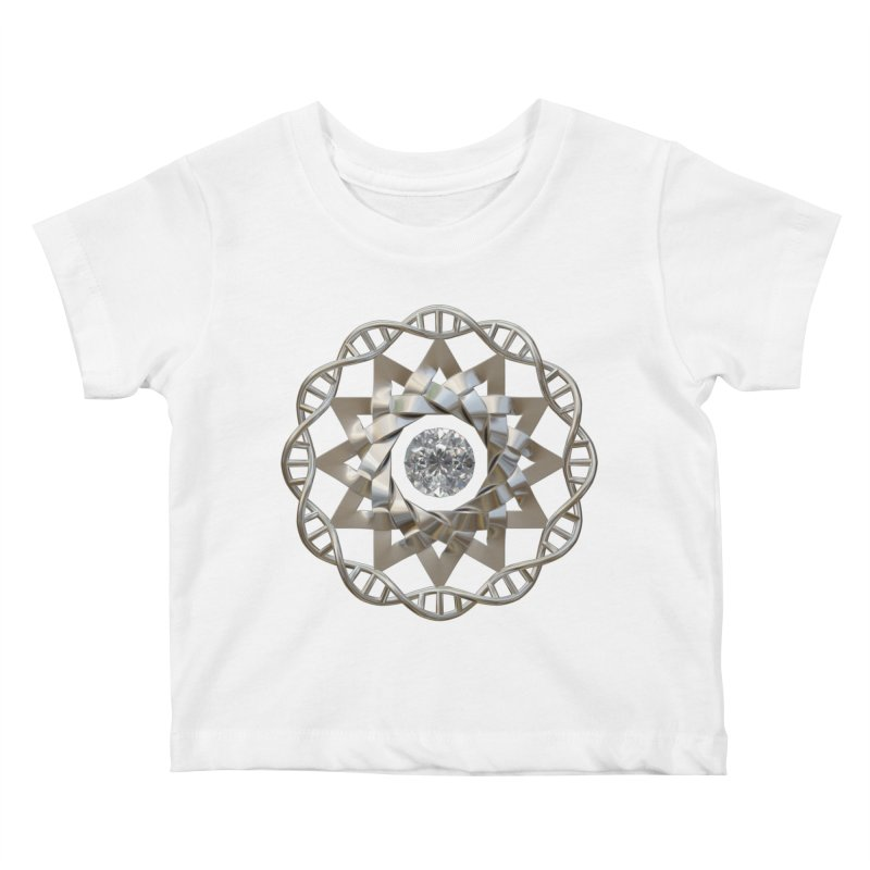 12 Strand DNA Silver Kids Baby T-Shirt by diamondheart's Artist Shop