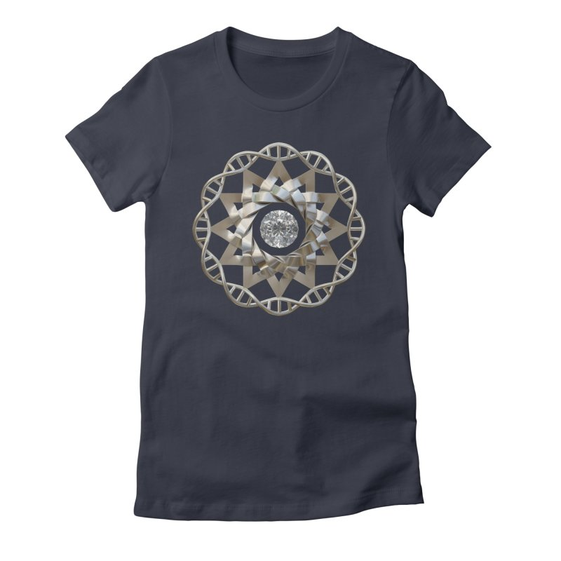 12 Strand DNA Silver Women's Fitted T-Shirt by diamondheart's Artist Shop