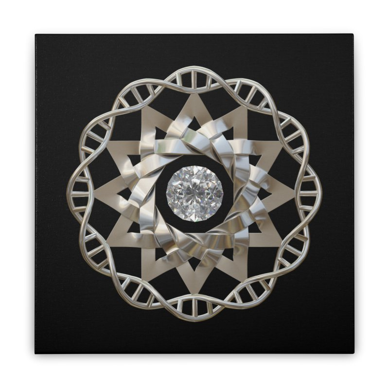 12 Strand DNA Silver Home Stretched Canvas by diamondheart's Artist Shop