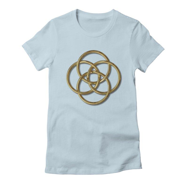 Quadruple Vesica Piscis Gold Women's Fitted T-Shirt by diamondheart's Artist Shop