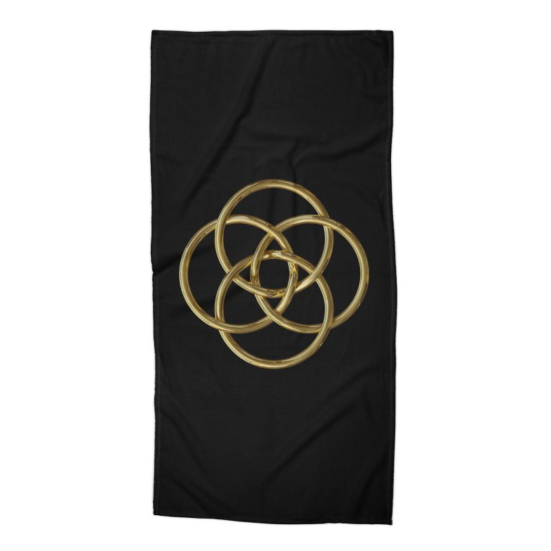 Quadruple Vesica Piscis Gold Accessories Beach Towel by diamondheart's Artist Shop