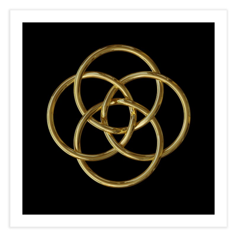 Quadruple Vesica Piscis Gold Home Fine Art Print by diamondheart's Artist Shop