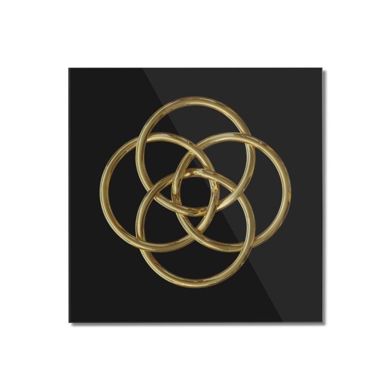 Quadruple Vesica Piscis Gold Home Mounted Acrylic Print by diamondheart's Artist Shop