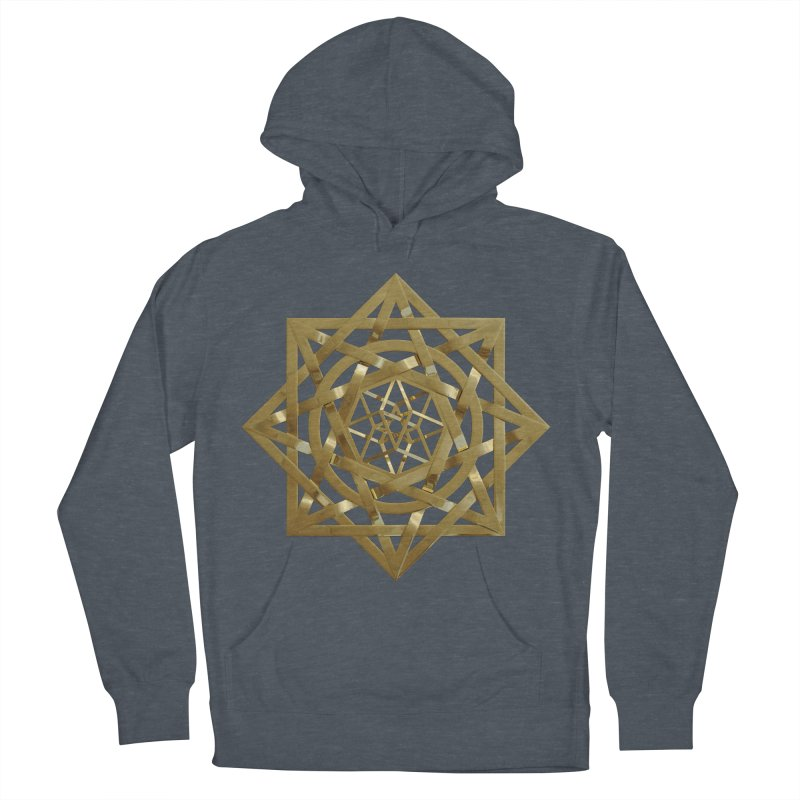 8:8 Tesseract Stargate Gold Men's French Terry Pullover Hoody by diamondheart's Artist Shop