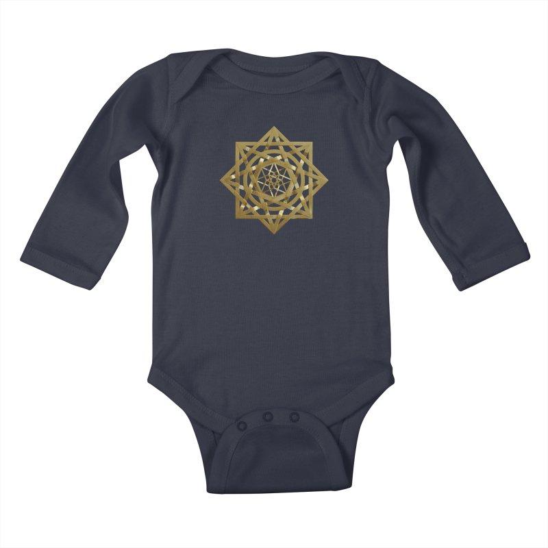 8:8 Tesseract Stargate Gold Kids Baby Longsleeve Bodysuit by diamondheart's Artist Shop