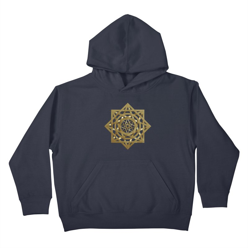 8:8 Tesseract Stargate Gold Kids Pullover Hoody by diamondheart's Artist Shop