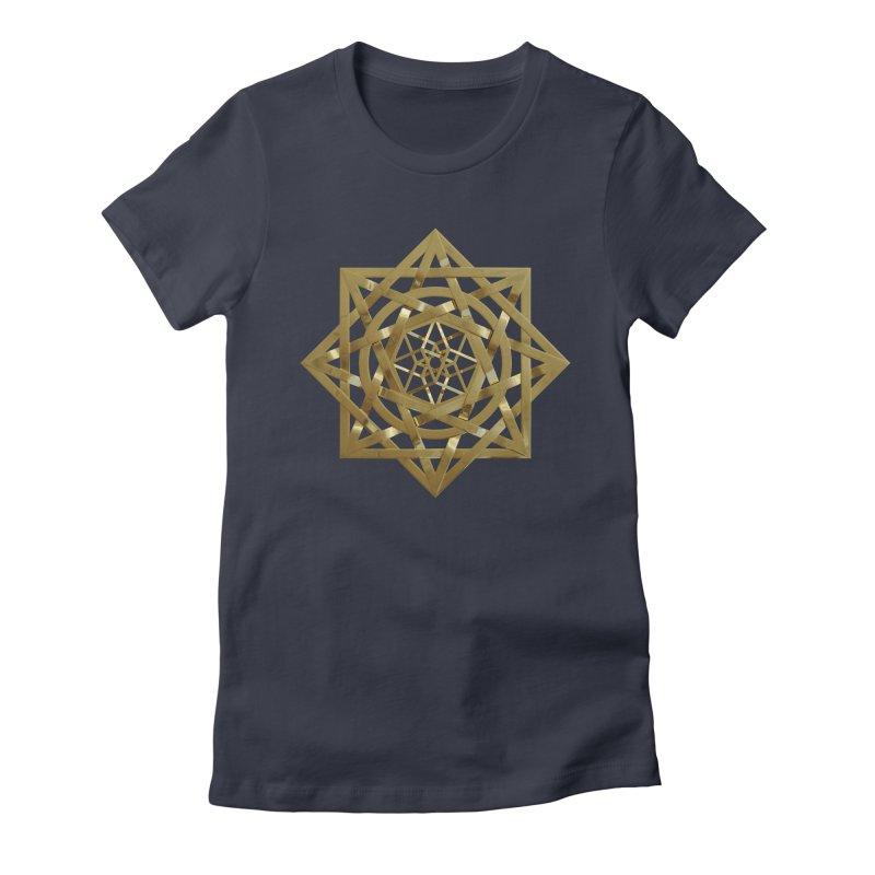 8:8 Tesseract Stargate Gold Women's Fitted T-Shirt by diamondheart's Artist Shop