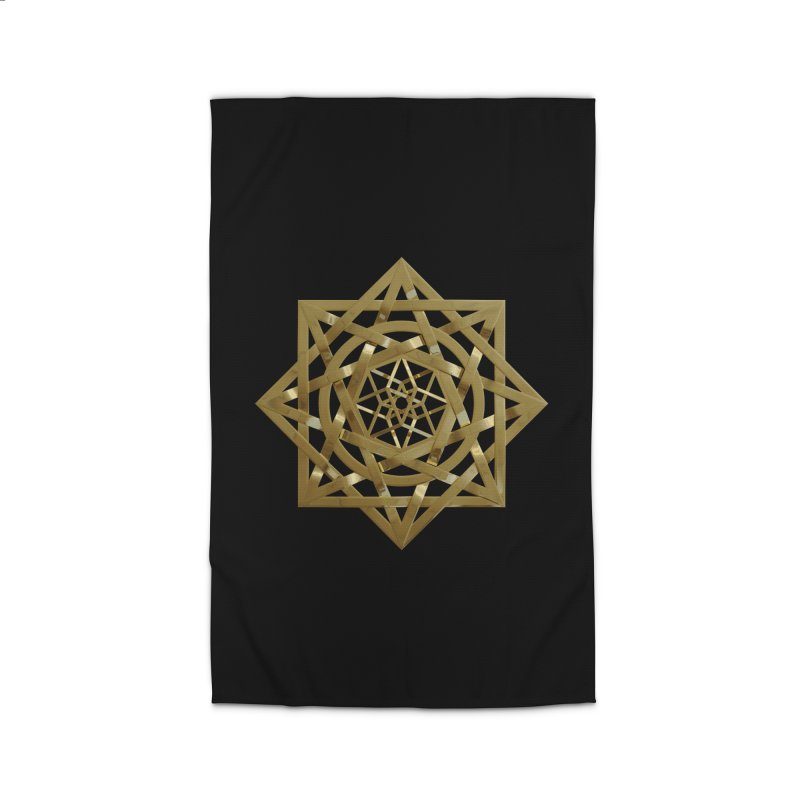 8:8 Tesseract Stargate Gold Home Rug by diamondheart's Artist Shop