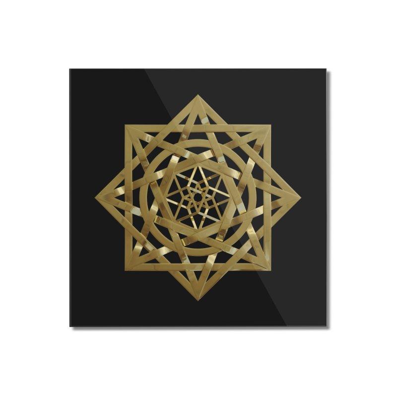 8:8 Tesseract Stargate Gold Home Mounted Acrylic Print by diamondheart's Artist Shop