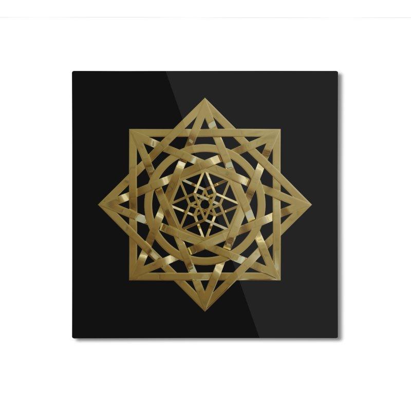 8:8 Tesseract Stargate Gold Home Mounted Aluminum Print by diamondheart's Artist Shop