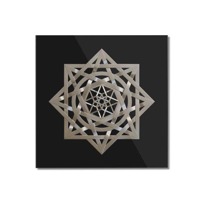 8:8 Tesseract Stargate Silver Home Mounted Acrylic Print by diamondheart's Artist Shop