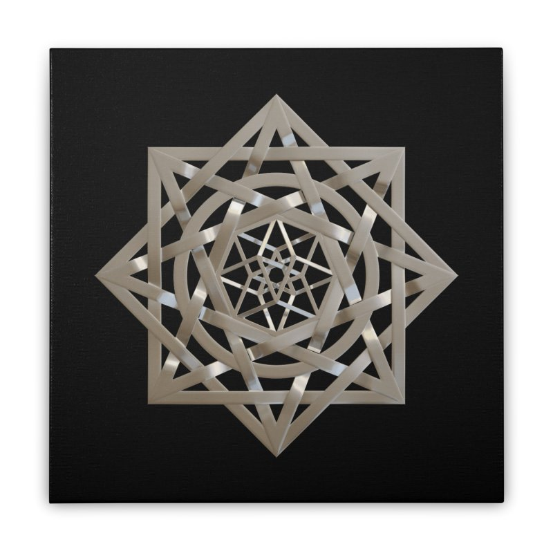 8:8 Tesseract Stargate Silver Home Stretched Canvas by diamondheart's Artist Shop