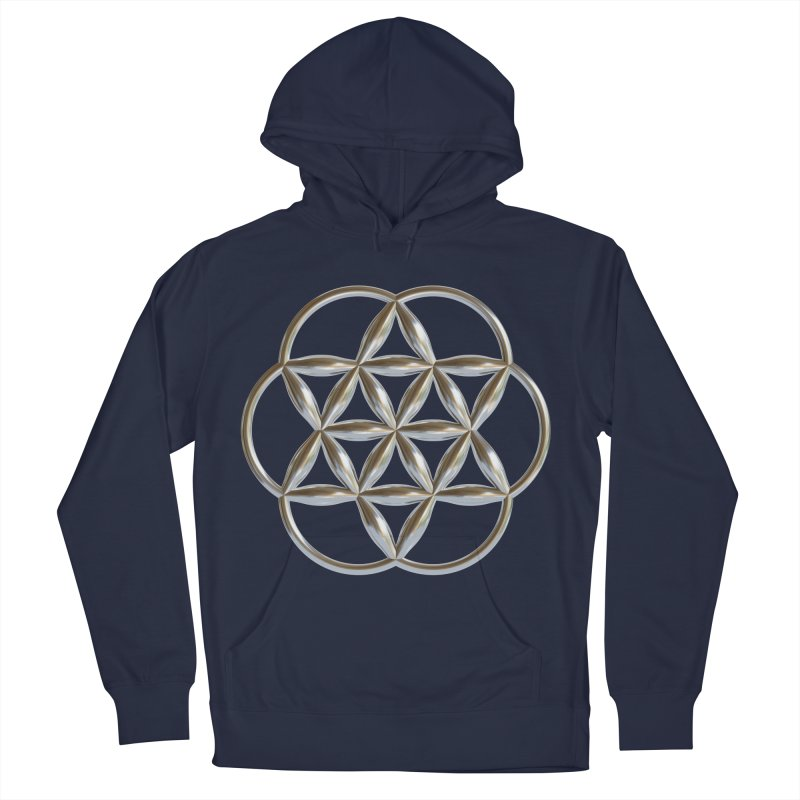Flowering Seed of Life Ag Men's French Terry Pullover Hoody by diamondheart's Artist Shop