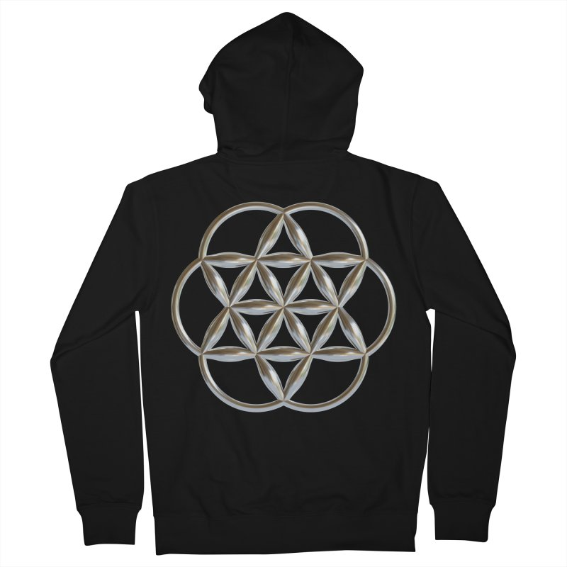 Flowering Seed of Life Ag Men's French Terry Zip-Up Hoody by diamondheart's Artist Shop