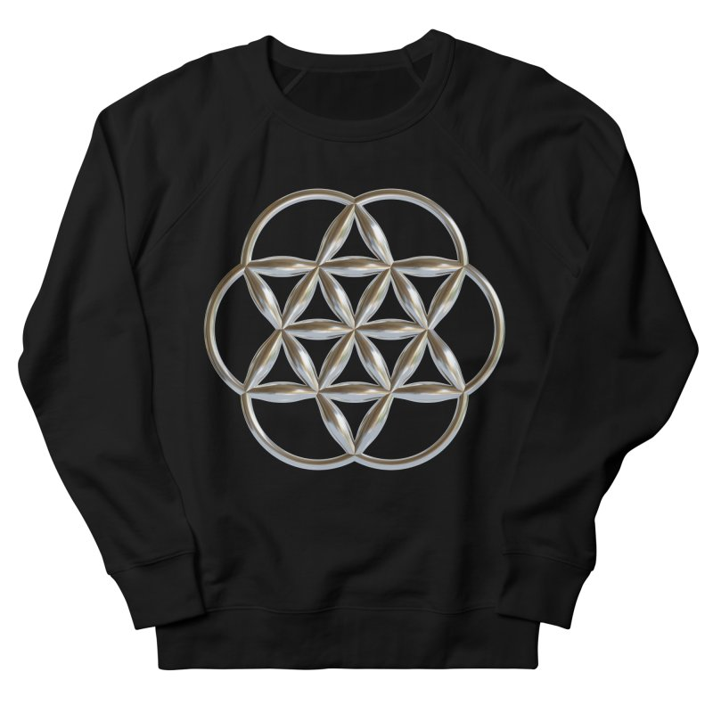 Flowering Seed of Life Ag Men's French Terry Sweatshirt by diamondheart's Artist Shop