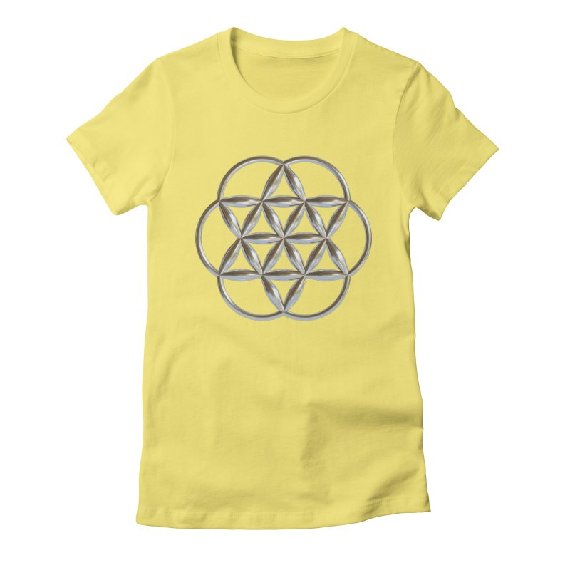 Flowering Seed of Life Ag Women's Fitted T-Shirt by diamondheart's Artist Shop