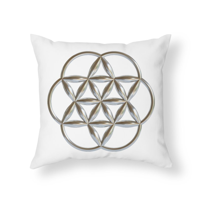 Flowering Seed of Life Ag Home Throw Pillow by diamondheart's Artist Shop