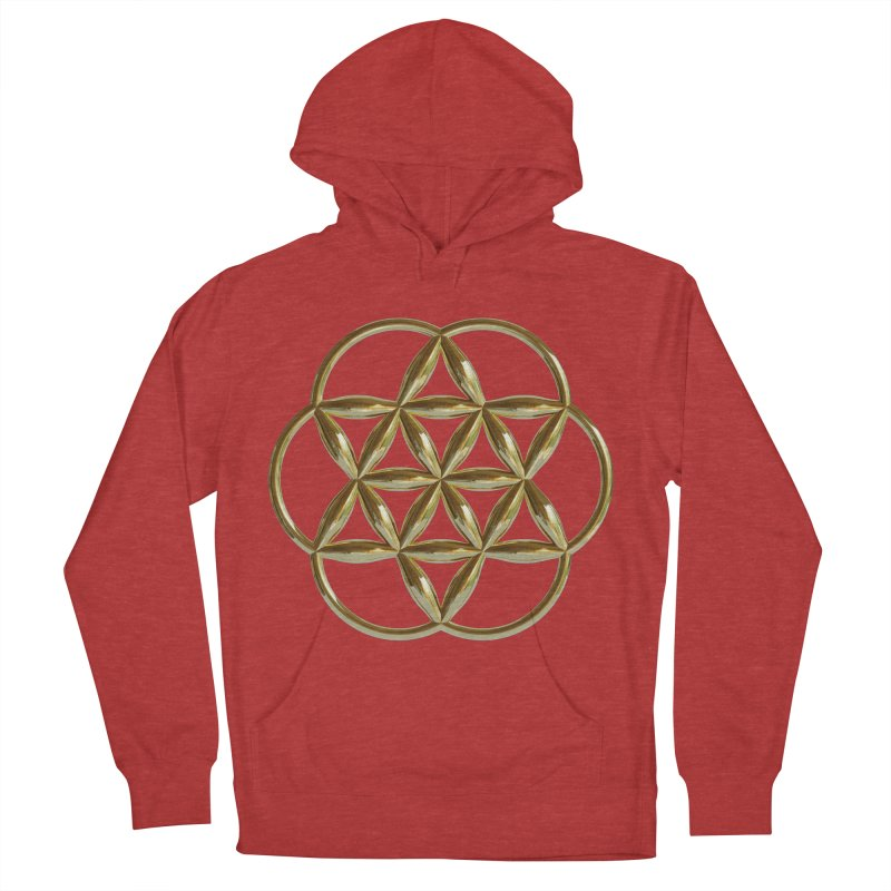 Flowering Seed of Life Au Men's French Terry Pullover Hoody by diamondheart's Artist Shop