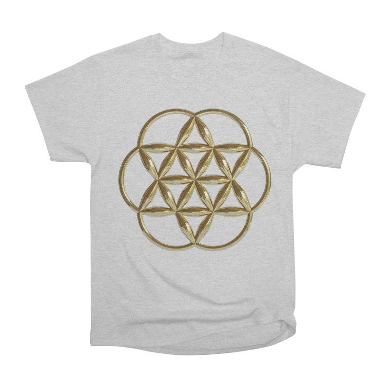 Flowering Seed of Life Au Men's Heavyweight T-Shirt by diamondheart's Artist Shop