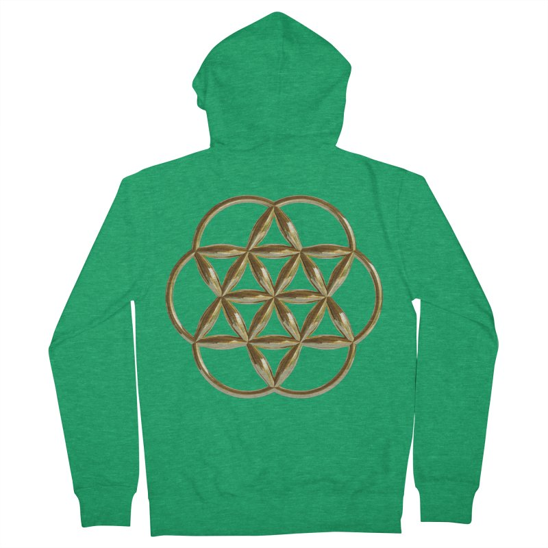 Flowering Seed of Life Au Women's Zip-Up Hoody by diamondheart's Artist Shop