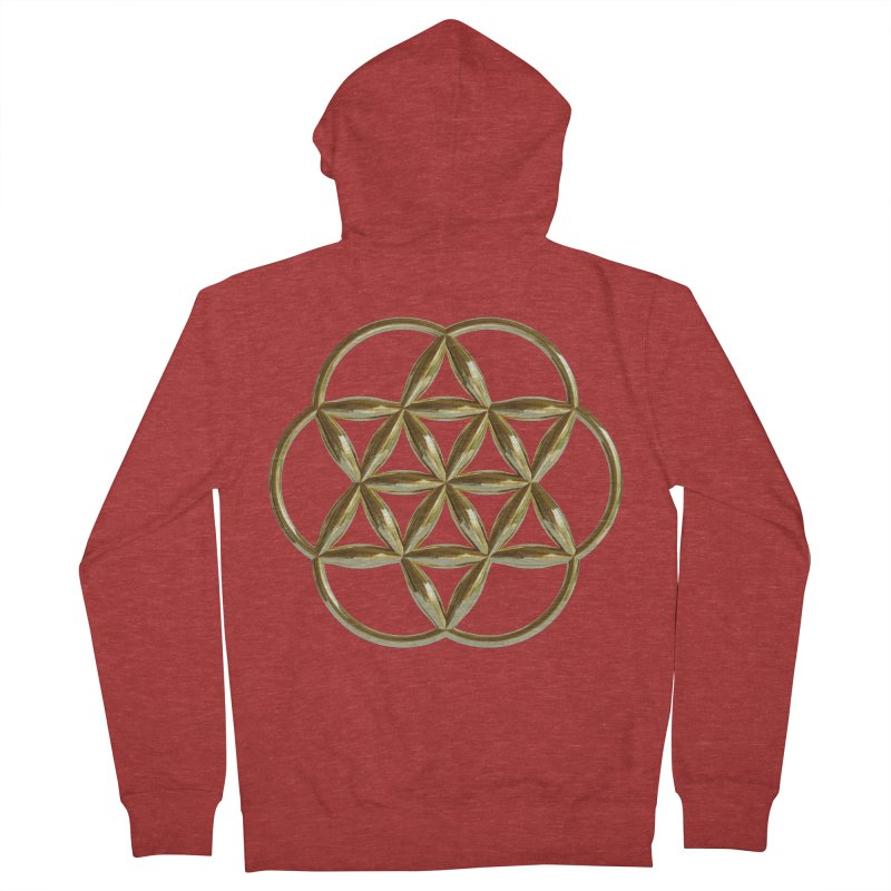 Flowering Seed of Life Au Women's French Terry Zip-Up Hoody by diamondheart's Artist Shop