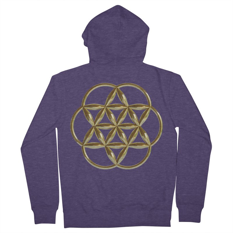 Flowering Seed of Life Au Men's French Terry Zip-Up Hoody by diamondheart's Artist Shop