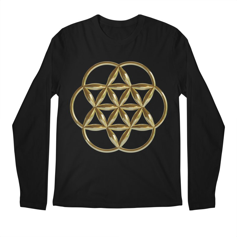 Flowering Seed of Life Au Men's Regular Longsleeve T-Shirt by diamondheart's Artist Shop