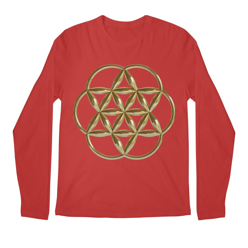 Flowering Seed of Life Au Men's Regular Longsleeve T-Shirt by diamondheart's Artist Shop