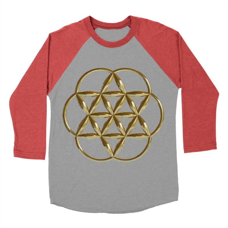 Flowering Seed of Life Au Women's Baseball Triblend Longsleeve T-Shirt by diamondheart's Artist Shop