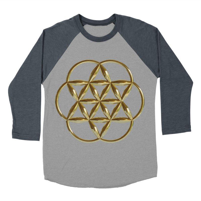 Flowering Seed of Life Au Men's Baseball Triblend Longsleeve T-Shirt by diamondheart's Artist Shop