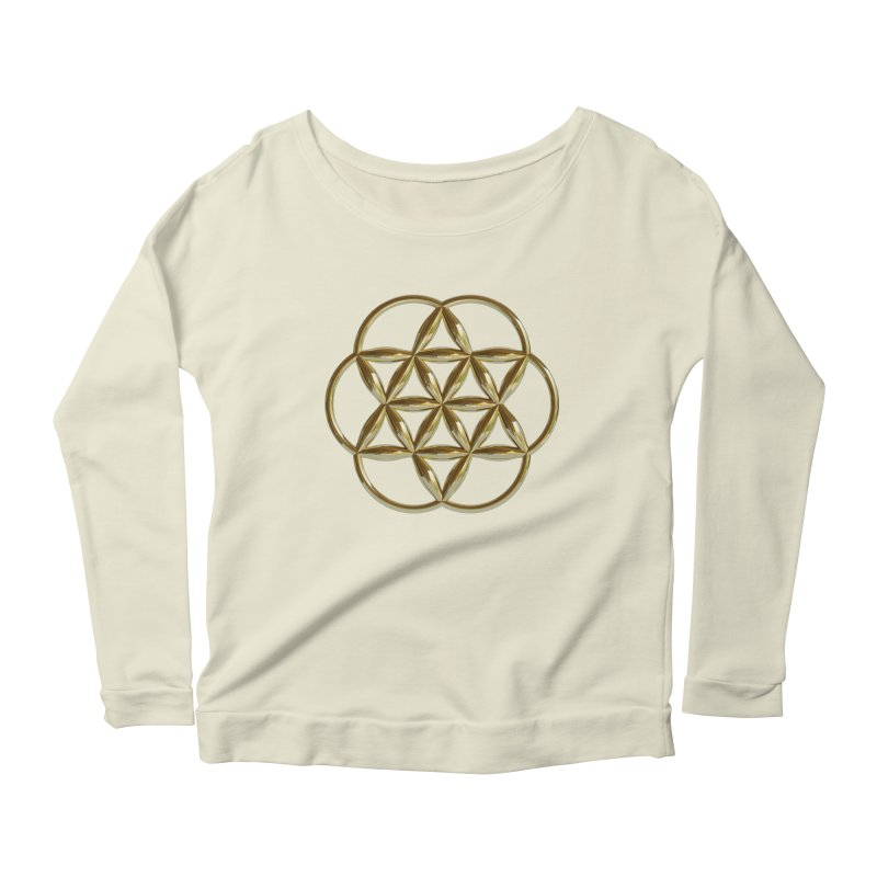 Flowering Seed of Life Au Women's Scoop Neck Longsleeve T-Shirt by diamondheart's Artist Shop