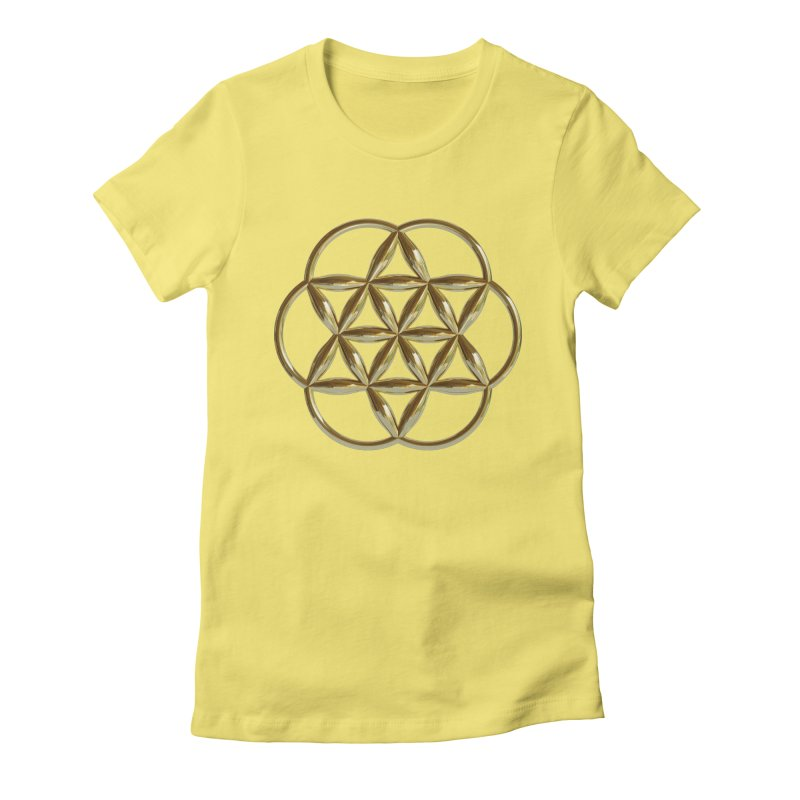 Flowering Seed of Life Au Women's Fitted T-Shirt by diamondheart's Artist Shop